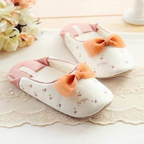 Beige cherry JaHGDU Woman Spring Summer Fall Casual Slippers Ladies Series Bow Slip Slippers Cute Cherry Pattern Girlish Comfortable Indoor shoes