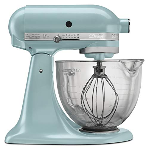 KitchenAid KSM155GBAZ 5-Qt. Artisan Design Series with Glass Bowl – Azure Blue