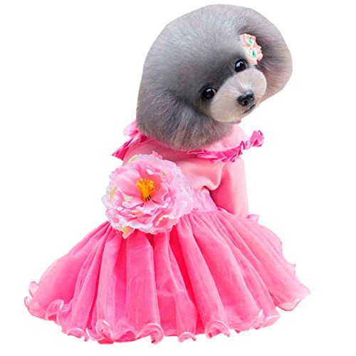 Minisoya Dog Dress Peony Style Small Pet Cat Lace Skirt Clothes Puppy Costume Tutu Dress (Pink, S) (Tutu Dress Peony)