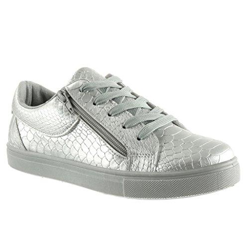 Angkorly Damen Schuhe Sneaker - Sneaker Sohle - Schlangenhaut - Reißverschluss Flache Ferse 2.5 cm Silber