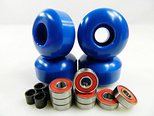 Set of 4 Skateboard Wheels Blank 52mm Blue + Abec 7 Bearings and Spacers