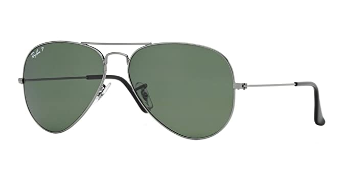 97cd8b4a14 Image Unavailable. Image not available for. Colour  Ray-Ban RB3025 AVIATOR  CLASSIC 62mm Gunmetal Green Classic G-15 Polarized Sunglasses