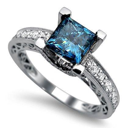 1.90ct Princess Cut Blue Diamond Engagement Ring 18k White Gold | Amazon.com