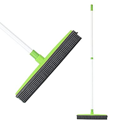 Push Broom Long Handle Rubber Bristles Sweeper Squeegee Edge 54 inches Scratch Free Bristle Broom for Pet Cat Dog Hair Carpet Hardwood Tile Windows Clean Water Resistant