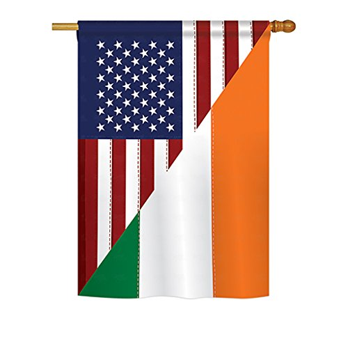 Breeze Decor - US Irish Friendship Flags of The World - Everyday Impressions Decorative Vertical House Flag 28