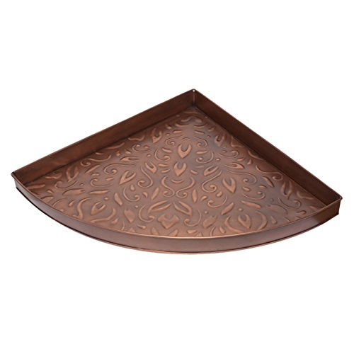 Home Furnishings by Larry Traverso Elizabethan Pattern Corner Metal Boot Tray, Antique Copper Finish, 21-Inches by 21-Inches