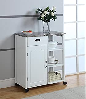 Bon Kings Brand White Finish Wood U0026 Marble Vinyl Top Kitchen Storage Cabinet  Cart