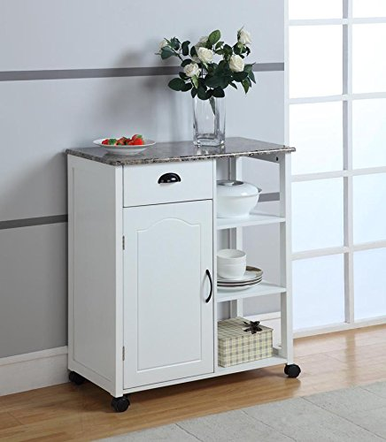 King s Brand White Finish Wood Marble Vinyl Top Kitchen Storage Cabinet Cart