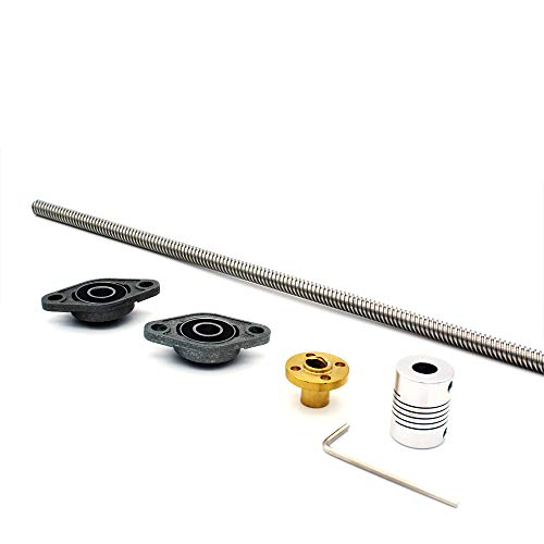 (300mm 8mm T8 Lead Screw Set Lead Screw+ Copper Nut + Coupler+Hexagon Wrench + Pillow Bearing Block for 3D Printer)