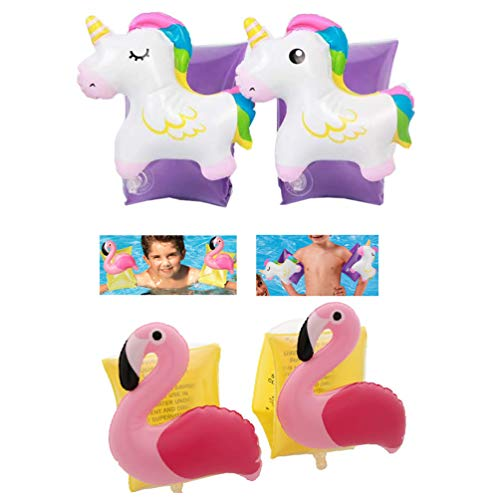 Inflatable Unicorn + Flamingo Arm Bands Swimming Aid Floating Sleeves Armband Swim Circle Boat Pool Toy for Kids Baby Toddlers Infants 2-8 Years