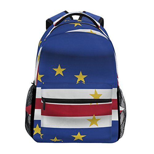 - Cape Verde Flag Unisex School College Student Backpack Bags Rucksack Casual Daypack