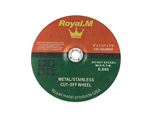 Royal.M 9'' x 1/12'' x 7/8'' DEPRESSED Metal and Stainless Cutting/Cut-Off Wheel - 200 pcs. by Royal.M