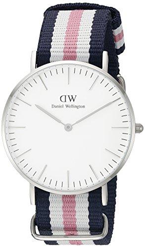 Daniel-Wellington-Reloj-analgico-para-mujer-de-nailon-blanco