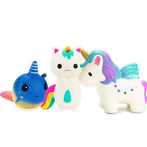 R HORSE Cute Rainbow Unicorn, Galaxy Whale, Rainbow Fox Set Kawaii Cream Scented Squishy Slow Rising Decompression Squeeze Toys for Kids or Stress Relief Toy Hop Props, Decorative Props Large (3Pack)