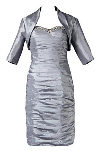 Gorgeous Bride Fashion Herz-Ausschnitt Etui Mit Bolero Taft Knielang Brautmutterkleid Cocktailkleid Partykleid