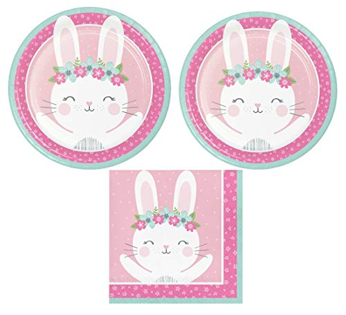 Bunny Party Supplies: Bundle Includes: Round Dinner Plates and Napkins for 16 Guests]()