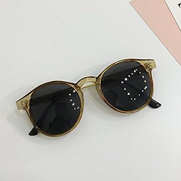 LXKMTYJ Sepia Resort transparenten Rand Sonnenbrille Persönlichkeit gelbe Box Kreis reparieren Gesicht Sonnenbrille, transparent sein