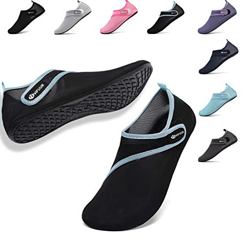 VIFUUR Womens Mens Water Shoes Adjustable Mesh Aqua Socks for Outdoor Swimming Beach Surfing Magic Buckle Splice Black 36/37