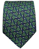 Festival of Trees 100% Woven Silk Navy Tie