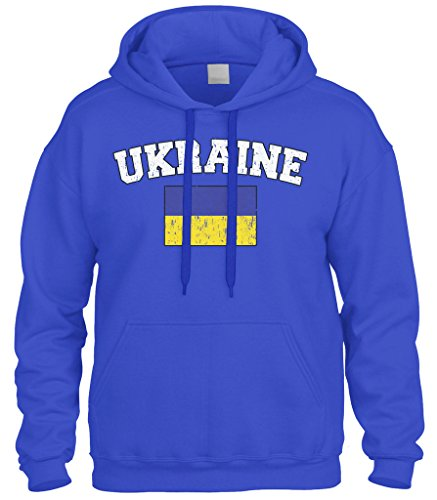 Cybertela Faded Distressed Ukraine Flag Sweatshirt Hoodie Hoody (Royal Blue, X-Large)