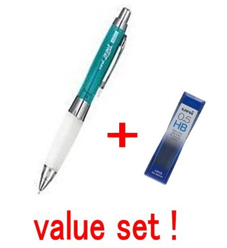 Uni-ball Alpha Gel Shaking Knock Mechanical Pencil 0.5mm Chrome Green Body Slightly Firm White Grip (M5618GG1PC.6) and Diamond Infused Leads 40 Leads Value Set