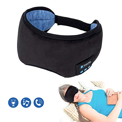 Bluetooth Sleeping Eye Mask Wireless Headphone, Voerou Adjustable Music Sleep Eye Shades with Built-in Speakers Microphone Handsfree Washable Perfect for Air Travel,Siesta and Sleeping(Black) (Best Bluetooth Earbuds For Sleeping)