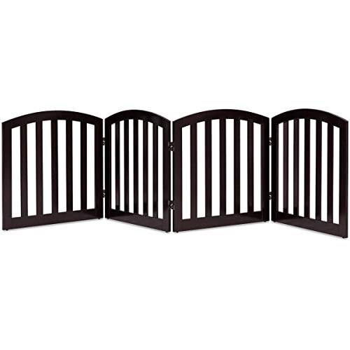 - Giantex 24'' Dog Gate with Arched Top for Doorway and Stairs, Configurable Free Standing Wooden Gate with Foldable Panels and Sturdy Metal Hinges, Pet Dog Safety Fence (96'' W, Brown)
