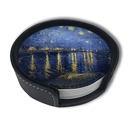 (CZZD Starry Night Over The Rhone Vincent Van Gogh Luxury Coasters Protect Furniture from Water Marks Scratch and Damage,Suitable for All Kinds of Cups,Set of 6)
