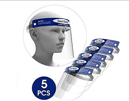 ORSEN Protector facial de seguridad , mascarilla facial reutilizable transparente transparente de cara completa, máscara facial, protege los ojos y la cara, evita la salpicadura de saliva(5 pcs)