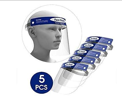 ORSEN Protector facial de seguridad, mascarilla facial reutilizable transparente transparente de cara completa, máscara facial, protege los ojos y la cara, evita la salpicadura de saliva(5 pcs)