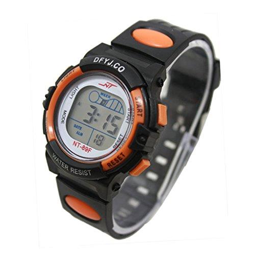 Watch - POTO 2017 New Boy Girl Alarm Date Digital Multifunction Sport LED Light Wrist Watch Luminous (Orange)