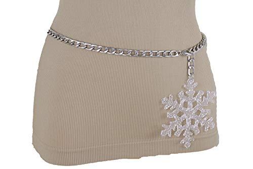 Link Belt Chain Tone Silver (TFJ Women Winter Fashion Belt High Waist Hip Silver Metal Chain Snowflake Charm XL XXL)