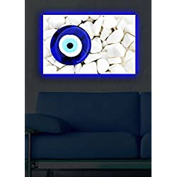 LaModaHome Decorative Canvas Wall Art (17.5 x 27.5) Wooden Thick Frame Painting/Led Lights Backside Evil Eye Stone Nature White Sand Rock Jewelry