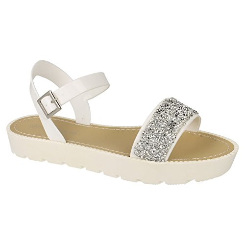 Savannah Damen Riemen Sandale mit Glitter Akzent Gold