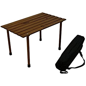Ordinaire Table In A Bag LLW1527 Small Low Wood Portable Table In A Bag, Brown