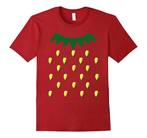 [Mens Strawberry Halloween Costume Shirt - Strawberry Fruit Tee XL Cranberry] (Strawberry Costume Man)