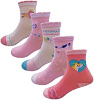 Little Girls Socks Cotton Strips Comfort Thick Socks 5 Pair Pack