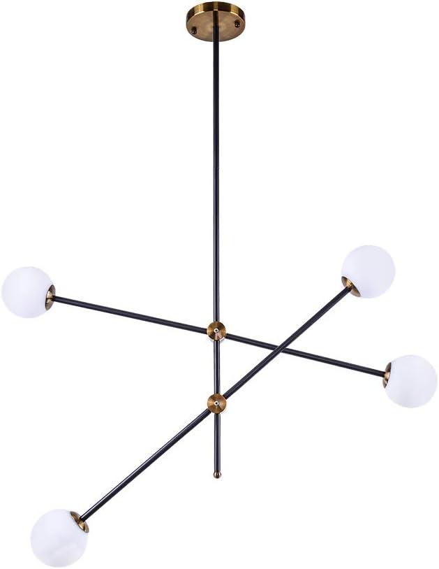 Lingkai Modern Sputnik Chandelier 4-Light Ceiling Light Creative Frosted Globe Glass Lampshade Branches Pendant Lighting Industrial Farmhouse Light Fixture
