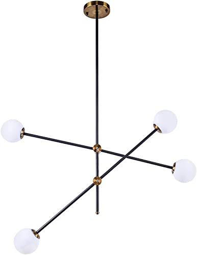 Lingkai Modern Sputnik Chandelier 4-Light Ceiling Light Creative Frosted Globe Glass Lampshade Branches Pendant Lighting Industrial Farmhouse Light Fixture