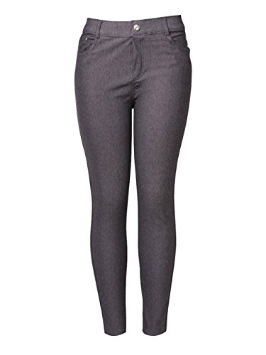 Yelete Womens Basic Five Pocket Stretch Jegging Tights Pants - Grey/Small -