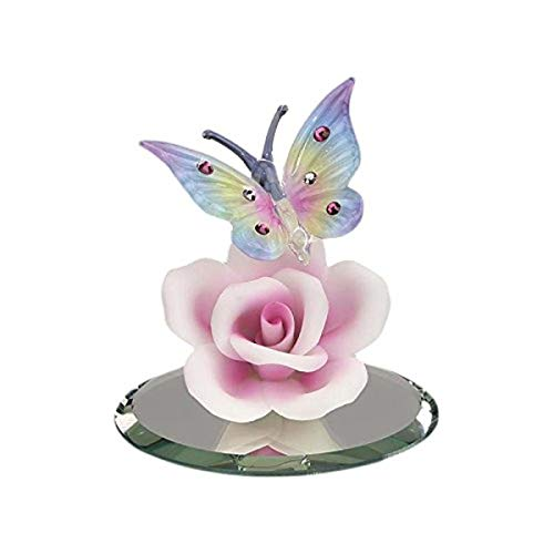 (Glass Baron Butterfly With Pink Rose Glass Figurine)