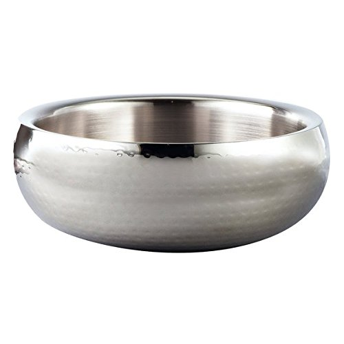 Silver Metal Bowl - Elegance Hammered 11-Inch Round Stainless Steel Doublewall Serving Bowl