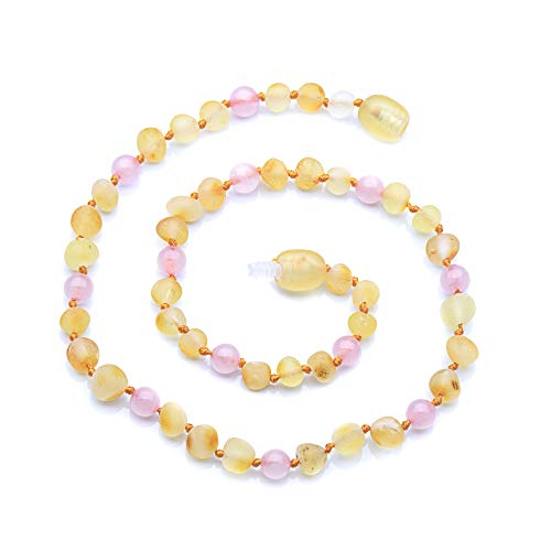(Baltic Amber Teething Necklace for Baby with Rose Quartz - Natural Pain Relief With Raw Certified Amber - Certified Amber - Safety Knotted - Plastic Screw Clasp - (Pink - 13.5