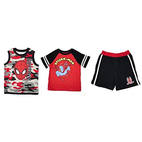 Marvel Toddlers 3pc Tank Top, T-Shirt & Shorts Set, Spider-Man, Red, 3T -