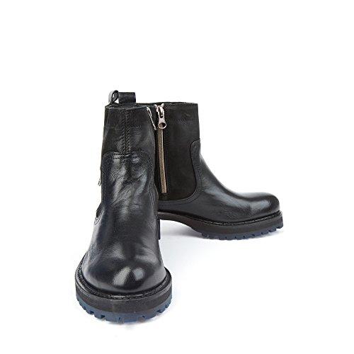 Felmini - Chaussures Femme - Tomber en amour avec Clara 9195 - Bottines Cowboy & Biker - Genuine Cuir - Noir