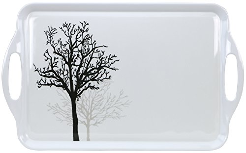 Corelle Coordinates by Reston Lloyd Melamine Rectangular Serving Tray with Handles, Timber Shadows (Tray With Melamine Handles)