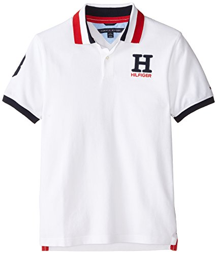 Tommy Hilfiger Big Boys' Short Sleeve Matt Polo Shirt, White, Large