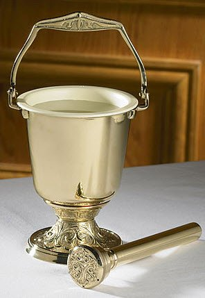 (Brass Embossed Holy Water Pot with Sprinkler Set)