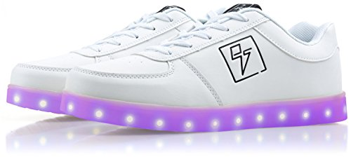 Light Up Shoes - Bolt Low Top, 6 B(M) US White by Electric Styles (Image #1)