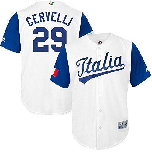 Men's #29 Francisco Cervelli Jersey 2017 World Baseball Classic Jerseys Italy White L (Italy Baseball Jersey)
